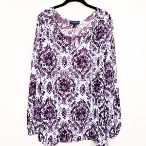 Lane Bryant Damask Print Sheer Blouse 22/24